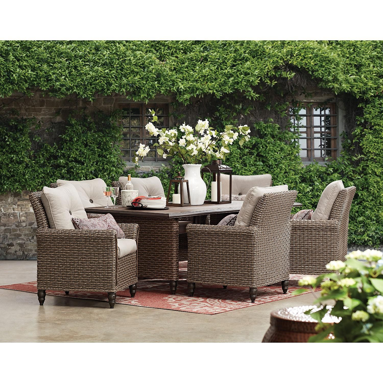 Member S Mark Harbor Hill 7 Piece Cushion Dining Set Sam S Club Wicker Dining Set Outdoor Dining Furniture Patio Dining Set