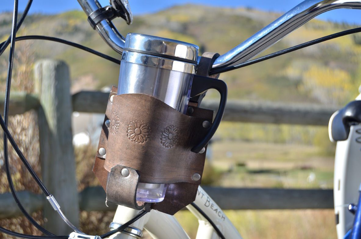 coffee cup holder bike accessory Distressed Brown bike cup holder