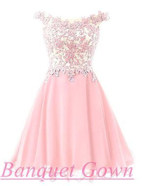 2cb2cde6c57387 Lovely Illusion Cap Sleeve Short Pink Homecoming Dress With Lace Appliques  Prom Gowns