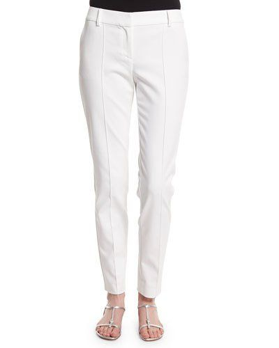 Stretch Micro Ottoman Pintucked Ankle Pants, Bianco