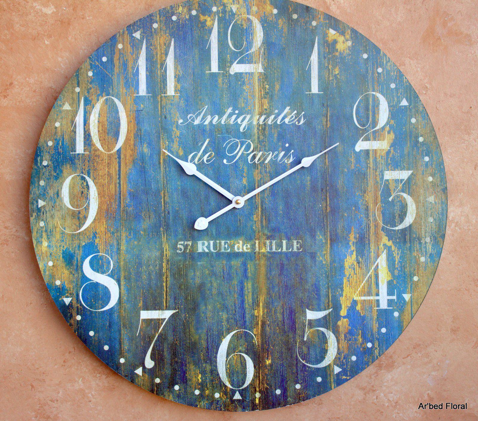 Amazon Com 23 Large Antiquites De Paris Wall Clock French Blue Finish Grand Central Station Wall Wall Clock Wooden Farmhouse Wall Clocks Clock Wall Art