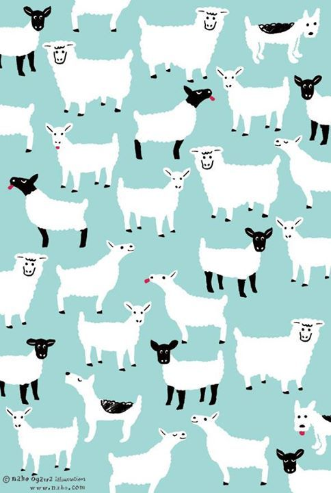 illustrator Naho Ogawa's card hides her pet dog perm amongst a flock of sheep