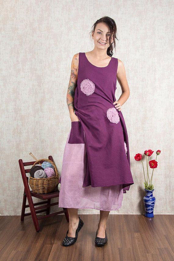 Purple Long sleeveless Cotton Dress Flower stitch by NaniFashion