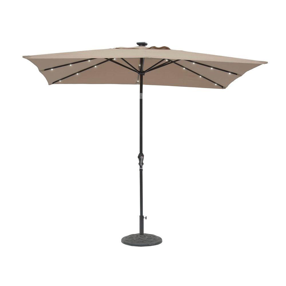 9 X 7 Rectangular Solar Lighted Umbrella Taupe Beige Aluminum