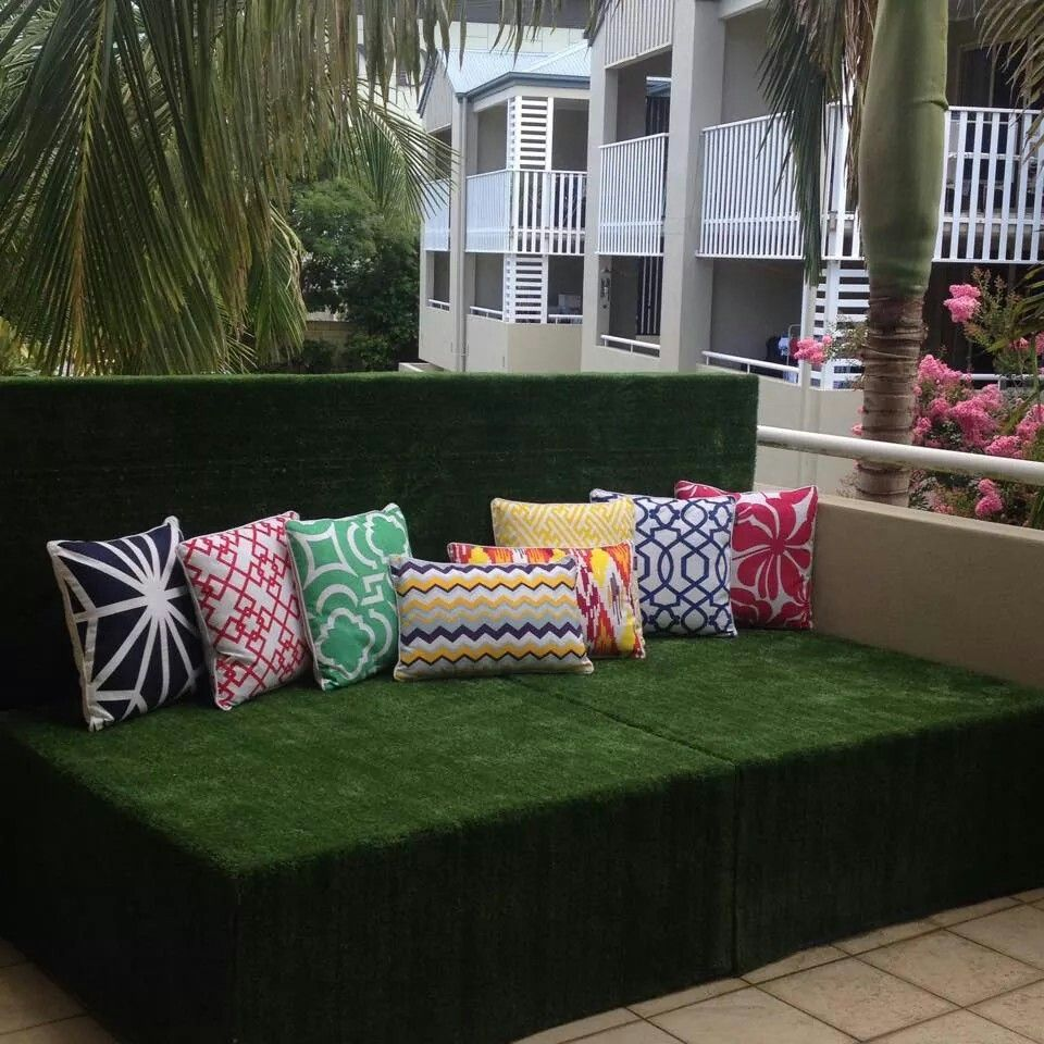 Wooden Daybed And Synthetic Grass Cover Has Adjustable Headboard