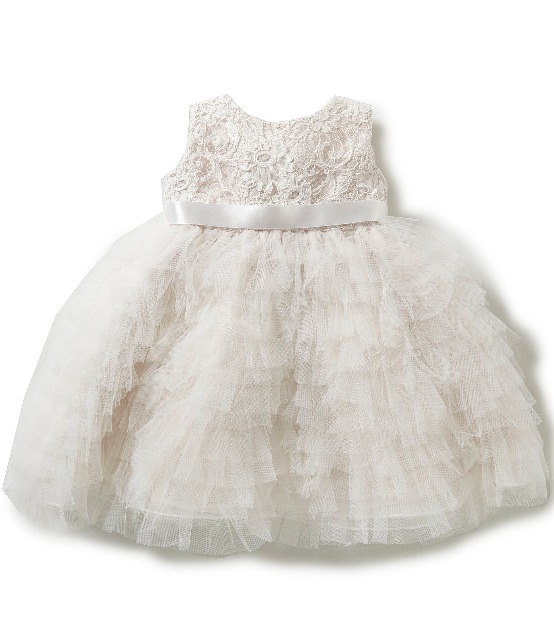 d510f4f56 Joan Calabrese Baby Girls 624 Months EmbroideredLace Ruffle Tulle ...