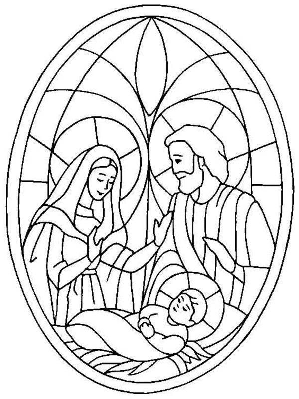 Nativity Coloring Pages Stained Glass Nativity Coloring Pages