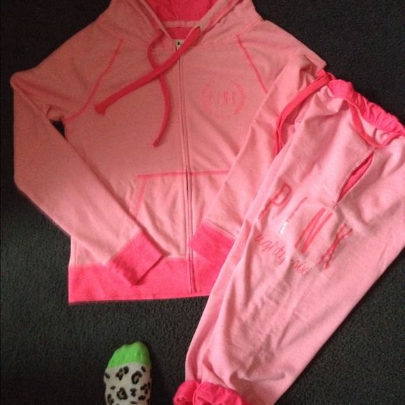 Small set neon pink with Capri bottom zip up top Cute in excellent condition looks new! Size small I can provide more pics if needed and I am willing to negotiate! Thanks for looking Victoria's Secret Other