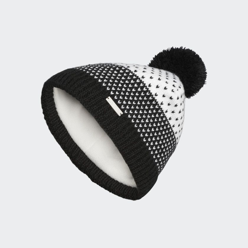 Fashion lined pompom beanie black cz0227 with images