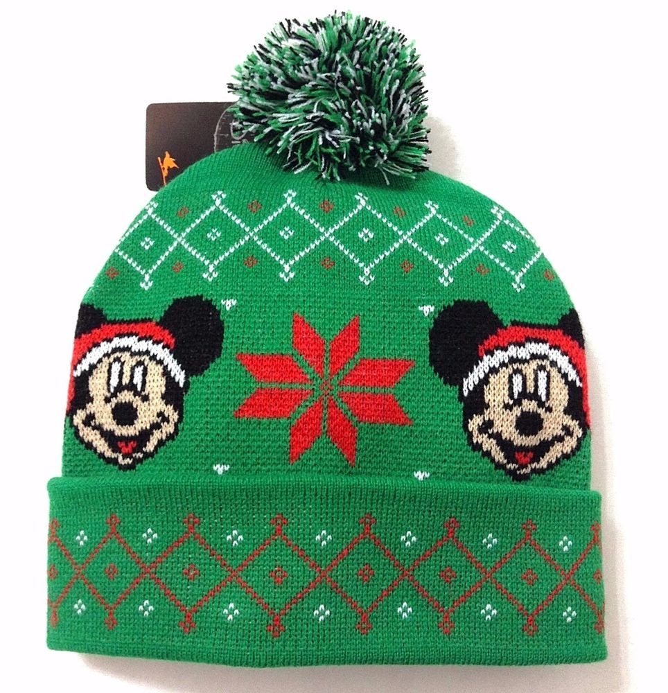 b46297f8176 New MICKEY MOUSE UGLY CHRISTMAS SWEATER POM BEANIE Winter Knit Ski Hat Men  Women  Disney  Beanie