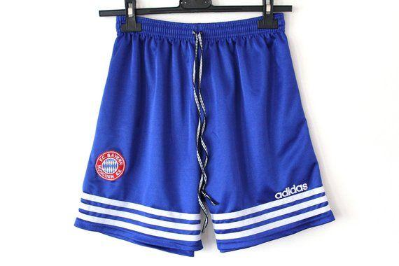 dddaf1227a Vintage ADIDAS Shorts, Bayern Munchen Football Shorts, Blue White 90's  Adidas Soccer Shorts, Shiny A