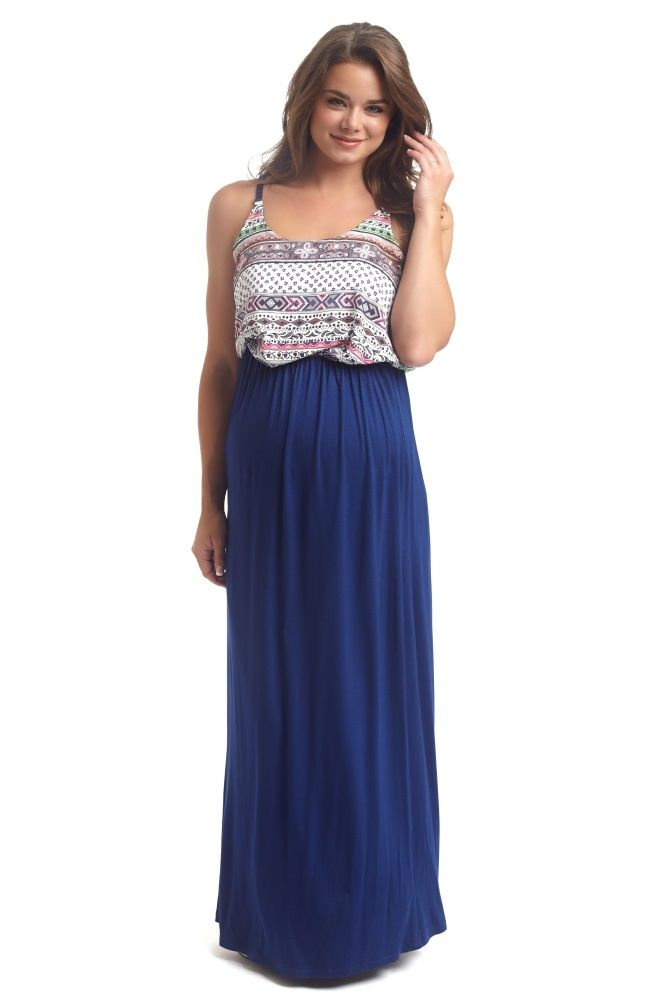 3aa22501529 Coral Printed Lace Accent Top Linen Maternity Maxi Dress