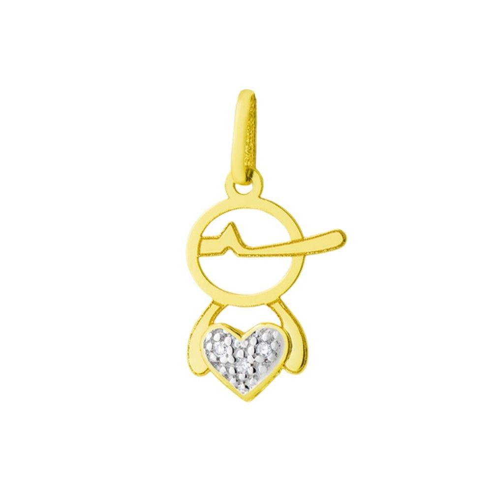 Pingente em Ouro 18k Menino Vazado com Diamantes no Coração - Joiasgold 6758ba6fde