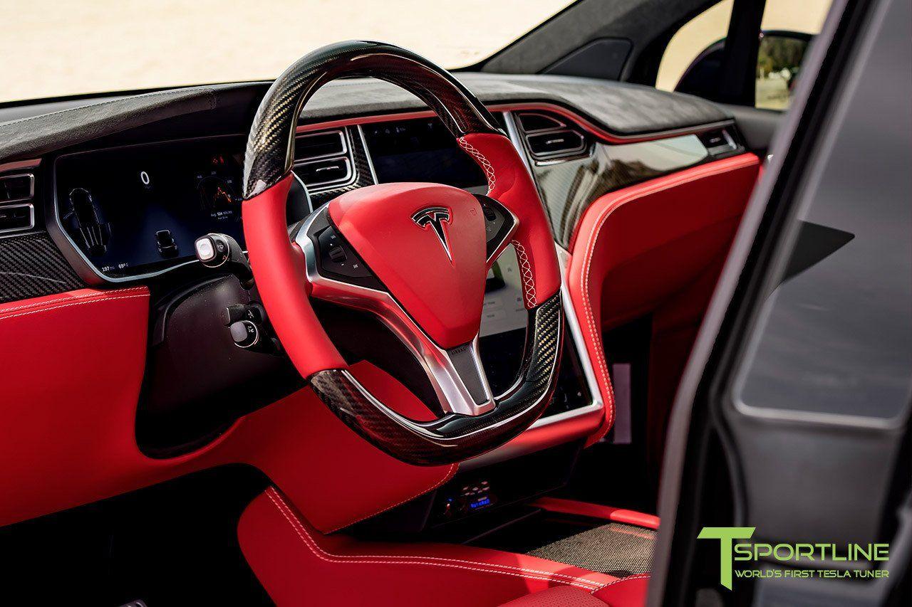 Black Tesla Model X - Custom Bentley Red Interior ...