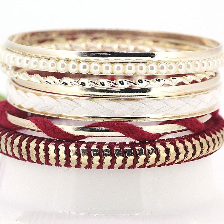 $3.07 Fashion Korean Version Temperament Pearl Multi Designed Level Alloy and Cotton Rope Charming Red Woven Bracelets for Girls
