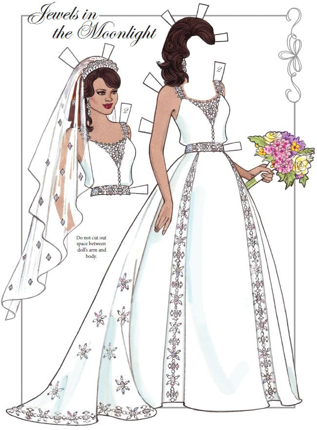 Dream Wedding Paper Dolls With Glitter By Eileen Rudisill Miller Of Sample  From Dover Publications