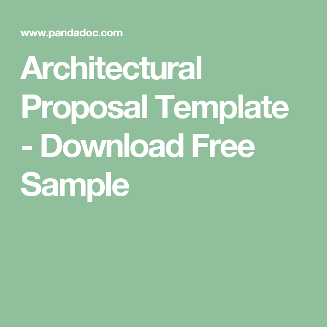 Architectural Proposal Template  Download Free Sample  Process