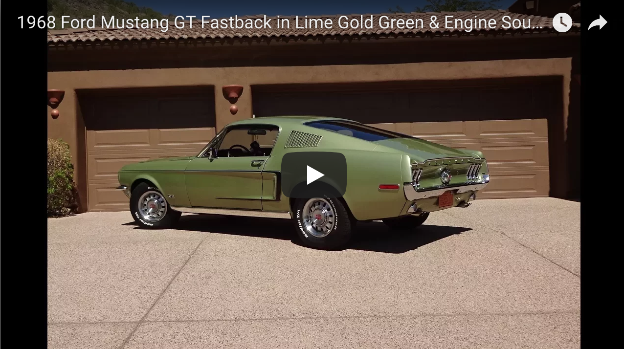 1968 Ford Mustang Gt Fastback In Lime Gold Green Engine Sound Ford Mustang Gt Mustang Gt Ford Mustang