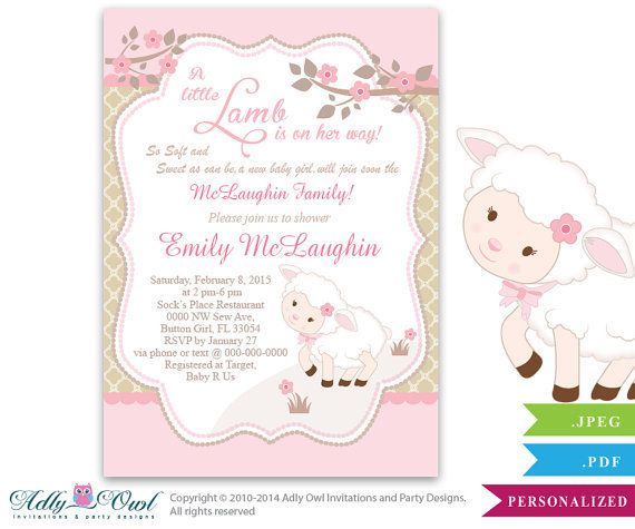 little lamb invitation | texts, baptisms and lamb baby showers, Baby shower invitations