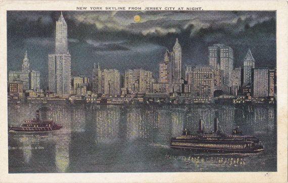 New York Skyline By Night- 1910s Antique Postcard- Moonlight Sky- Steamship in Harbor- Souvenir View- Edwardian Decor- Paper Ephemera