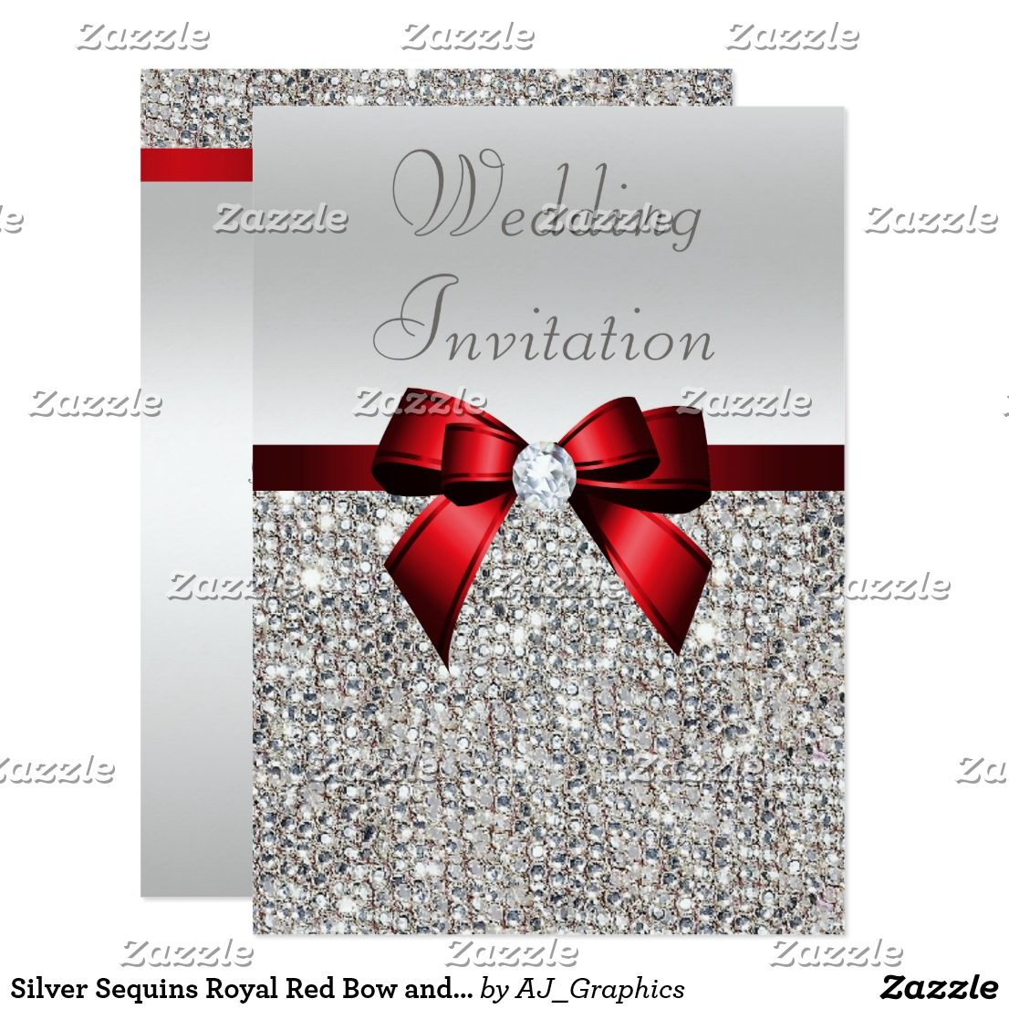 Silver Sequins Royal Red Bow and Diamond Wedding Invitation ...