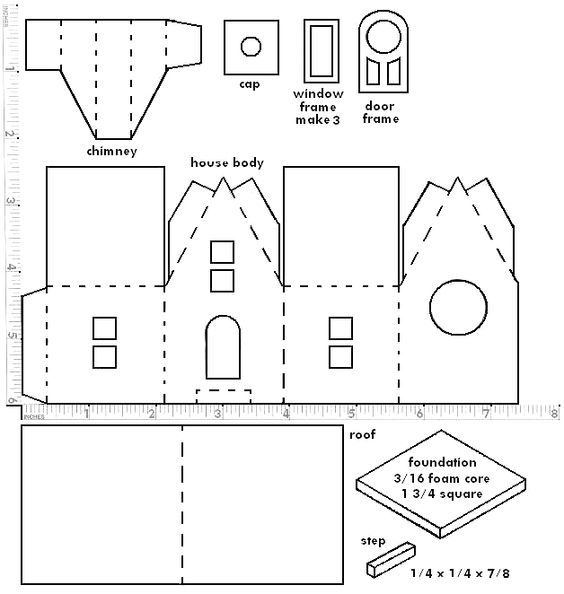 Diy Wee Springtime Easter Putz Cottages Paper House Template