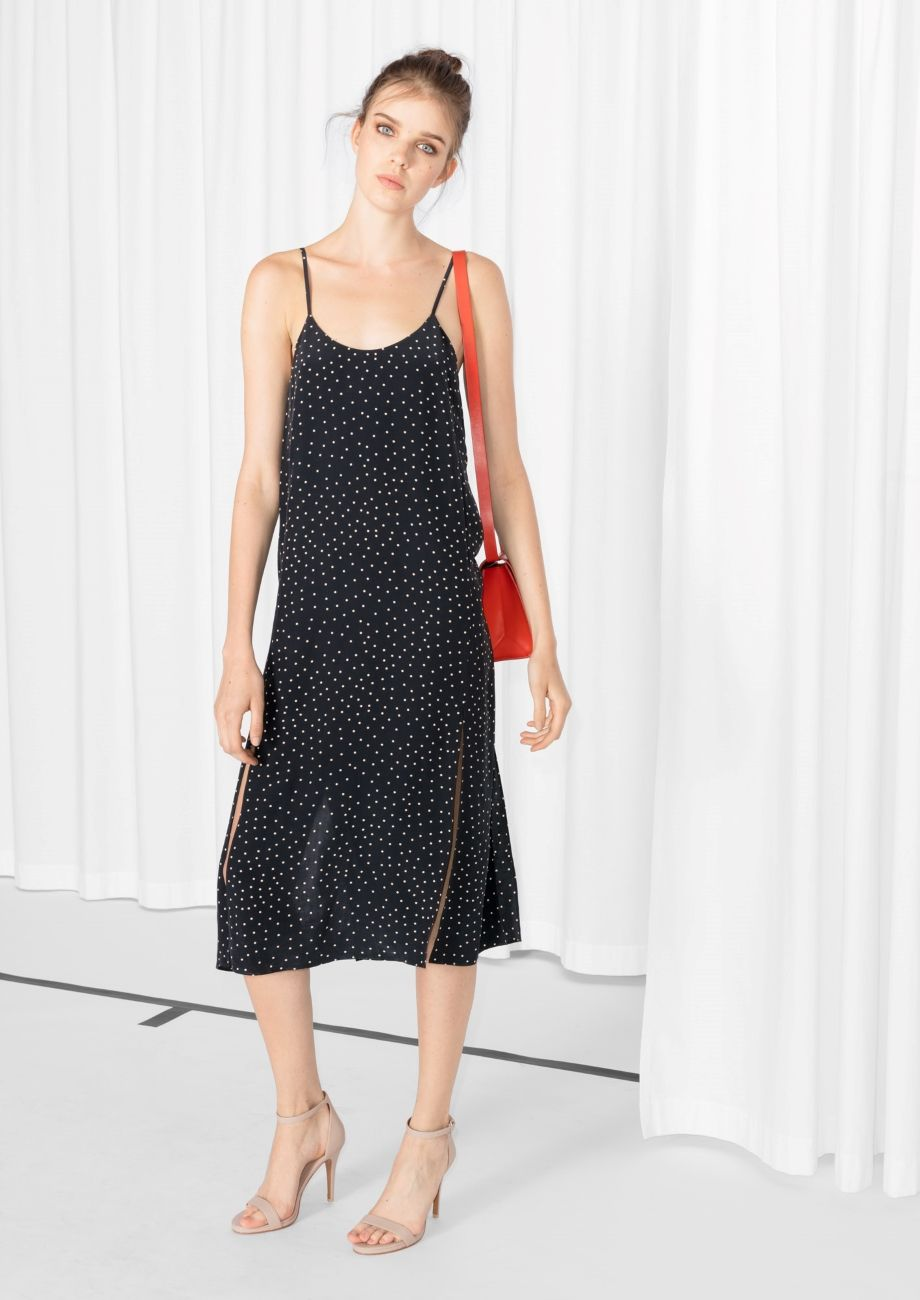 & Other Stories image 2 of Dotted Spaghetti Strap Slip Dress in Dot Print