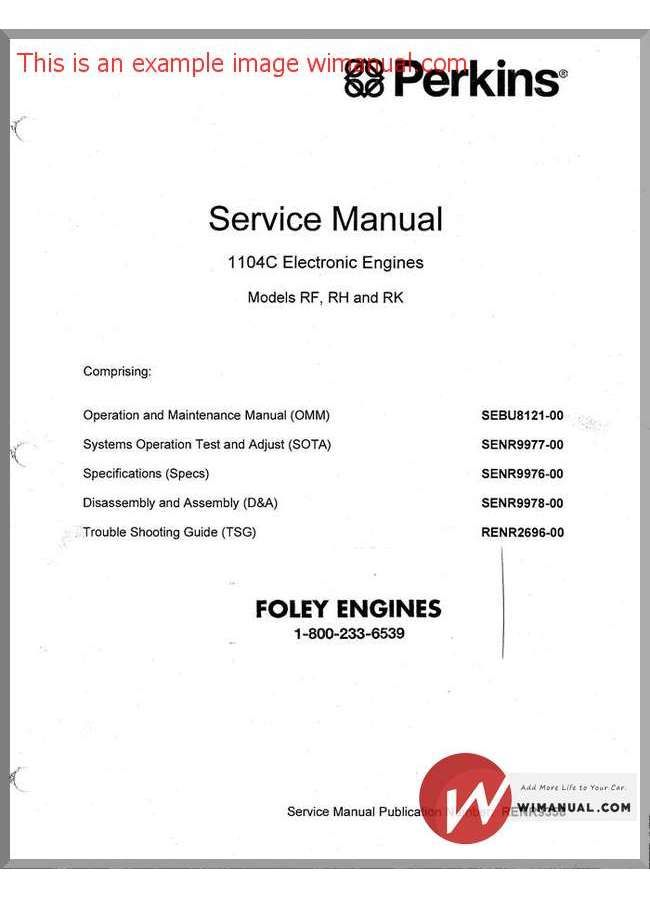 Perkins 1104c Service Manual Complete Reduced Manual Perkins Completed