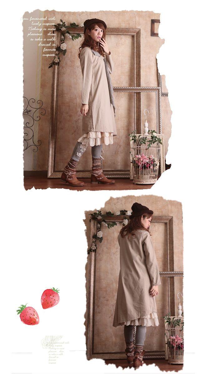 【塔莉卡.L】森女休闲中长裙(驼色/蓝色)(不含里裙等)