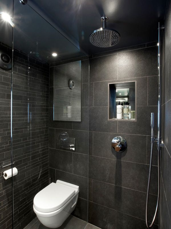 Small Wet Rooms Designs Ideas With Black Tiled Wall Also Huge Shower Design And White Floating Toilet And Mod Small Dark Bathroom Black Bathroom Small Wet Room