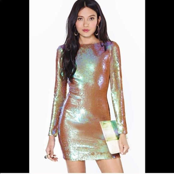 263e555499c Sequin Dress - NASTY GAL Beautiful Gold   Iridescent Party Dress Nasty Gal  Dresses