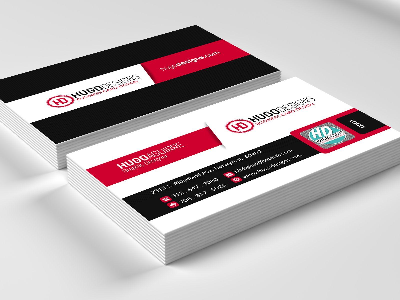 Bold modern qr code business card template hugodesigns