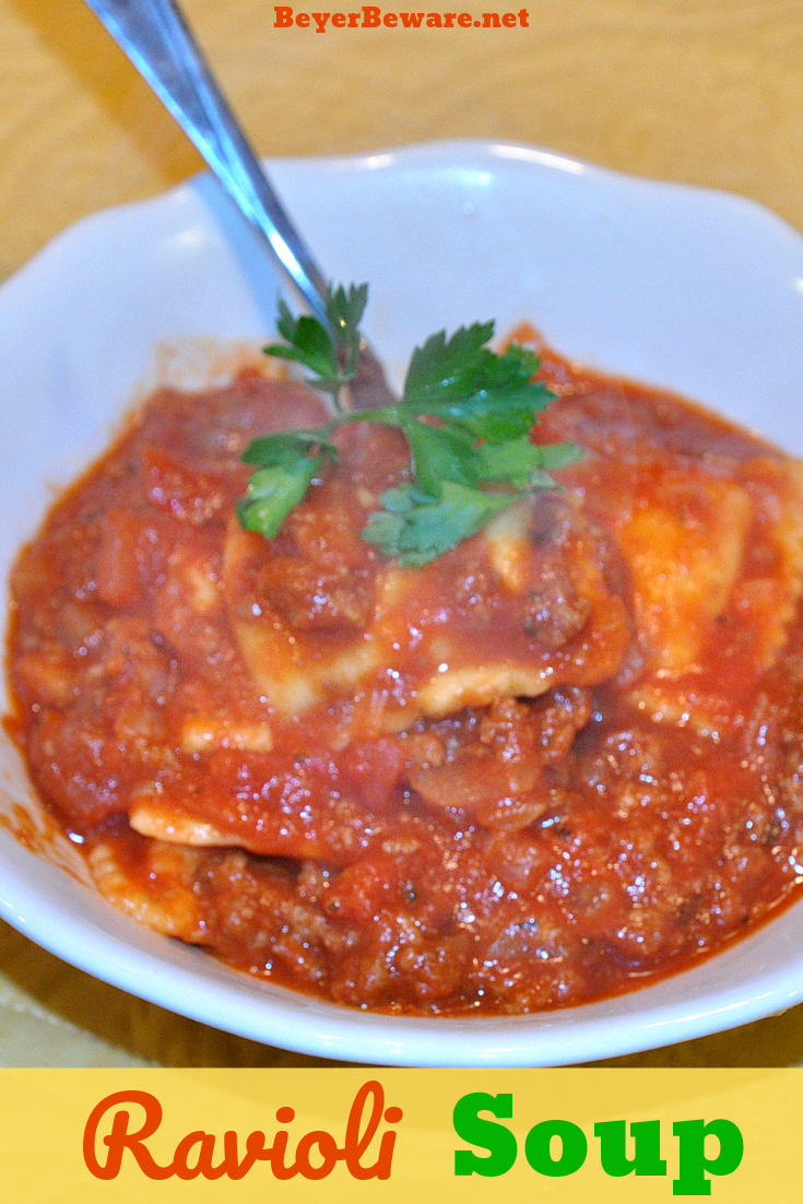 Meaty Tomato Ravioli Soup Is A 30 Minute Meal Combing Ground Beef Canned Tomatoes Ravioli And Parmesan Cheese For Delicious Soup Recipes Ravioli Soup Recipes
