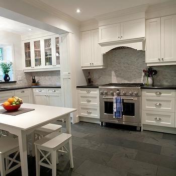 White Kitchen With Gray Floor Tiles Design Decor Photos Pictures Ideas Inspiration Paint Colo Grey Kitchen Floor Kitchen Renovation Slate Floor Kitchen