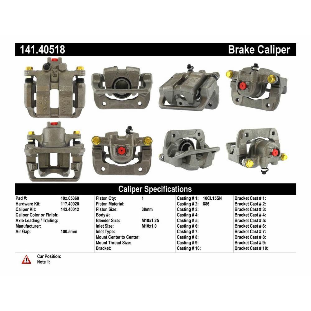 Centric Parts Disc Brake Caliper 1999-2004 Acura RL-141