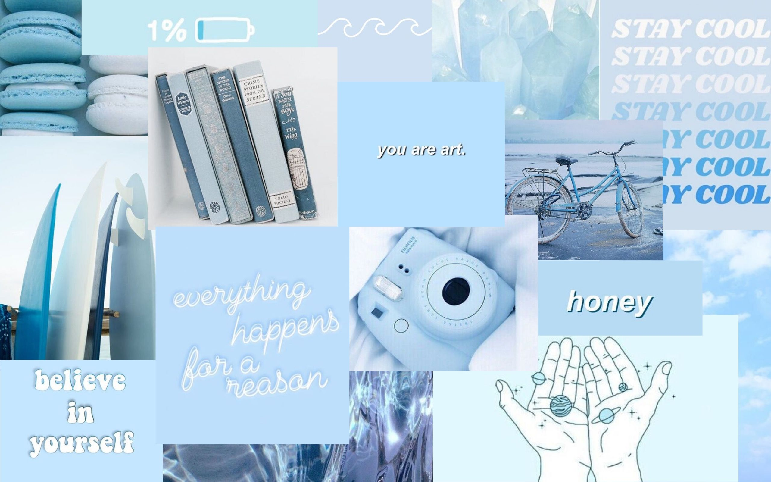 Baby Blue Aesthetic Collage Wallpaper Baby Blue Aesthetic Aesthetic Desktop Wallpaper Blue Aesthetic