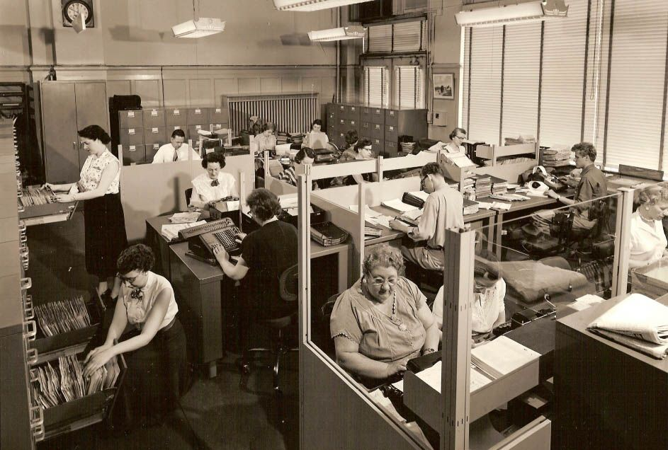 1950s Office | Office with typewriters, adding machines, vertical ...