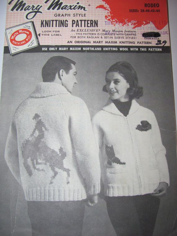 Rodeo Bucking Bronco Shawl Collar Cardigan Fair Isle Knitting Mary