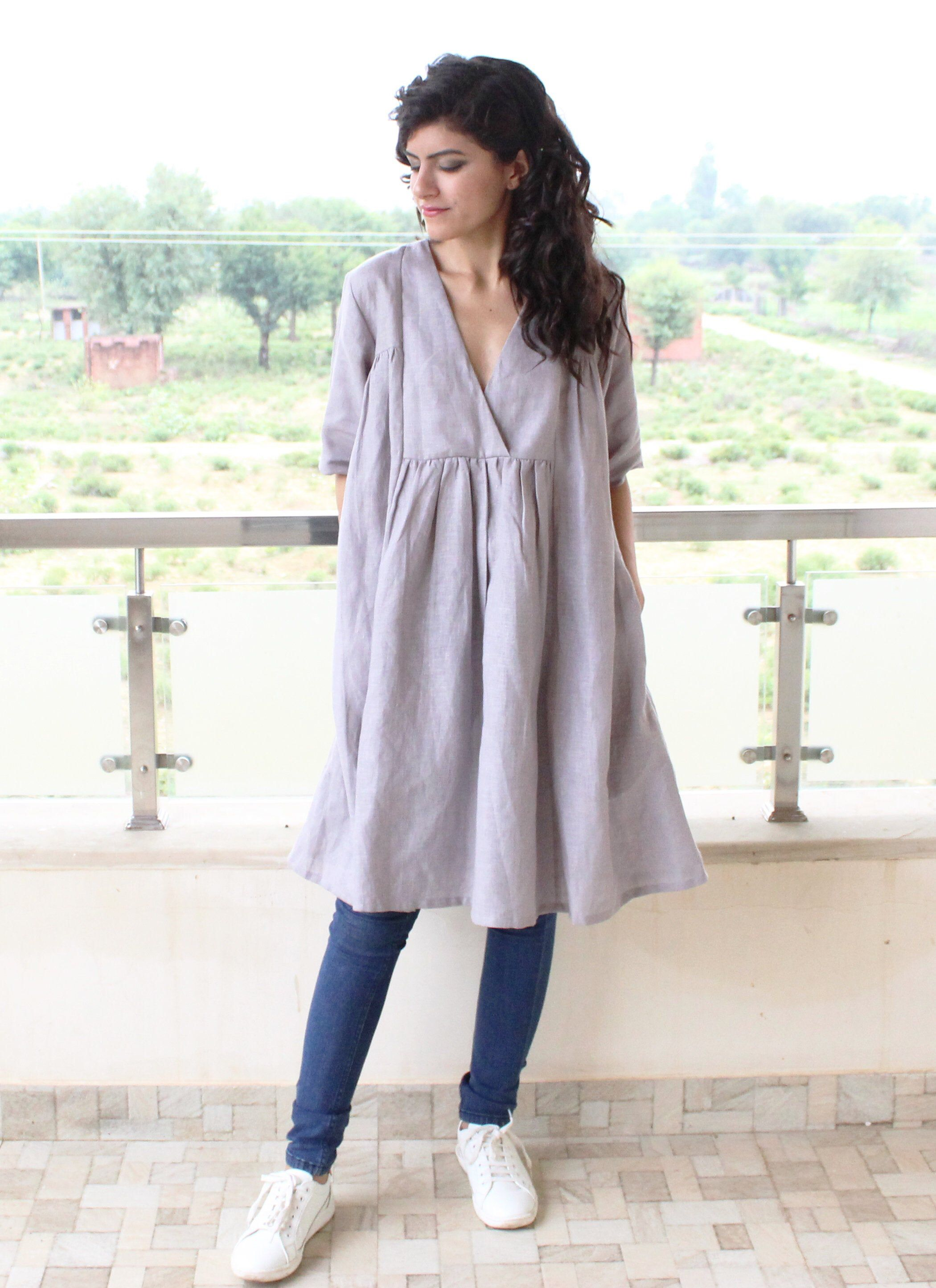 Loose fitted linen dress , pure Linen dress ,Washed linen clothing  , Linen dress, Linen tunic, Plus #linentunic
