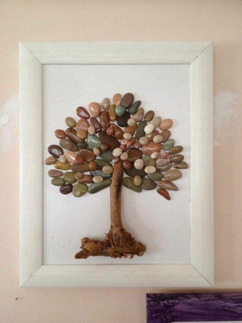 Bilder mit Steinen basteln - Eine hübsche Wanddeko aus Naturmaterialien #bastelnmitsteinen