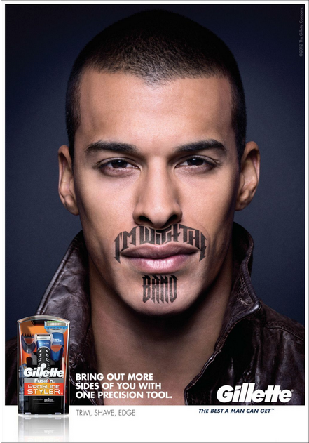 Platon makes an advertisement for Gillette razor blades ...
