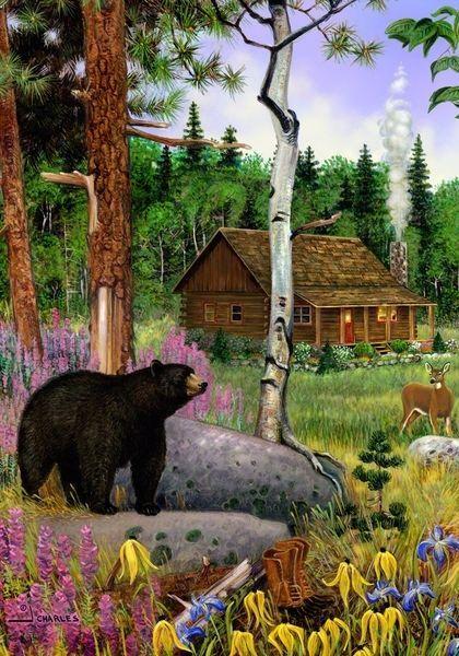 Black Bear Cabin  Deer Country Outdoors Wildflowers SM Flag