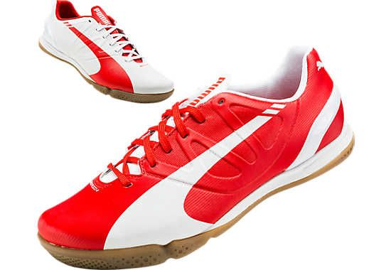 doloroso mezcla rebanada  Puma evoSPEED 4.3 IT Indoor Soccer Shoes - White and Red...get it now at  SoccerPro.com. | Futsal shoes, Soccer shoes, Puma