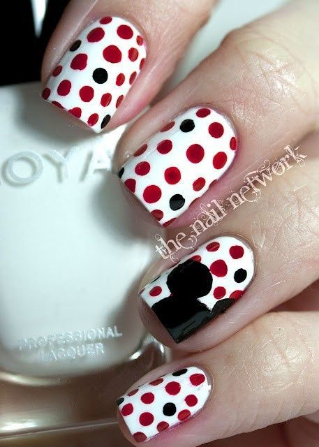 Mickey Mouse silhouette on polka dots + 46 more Amazing Retro Nails Design - 14 Ingenious Mickey Mouse Nail Art Designs Mickey Mouse Silhouette