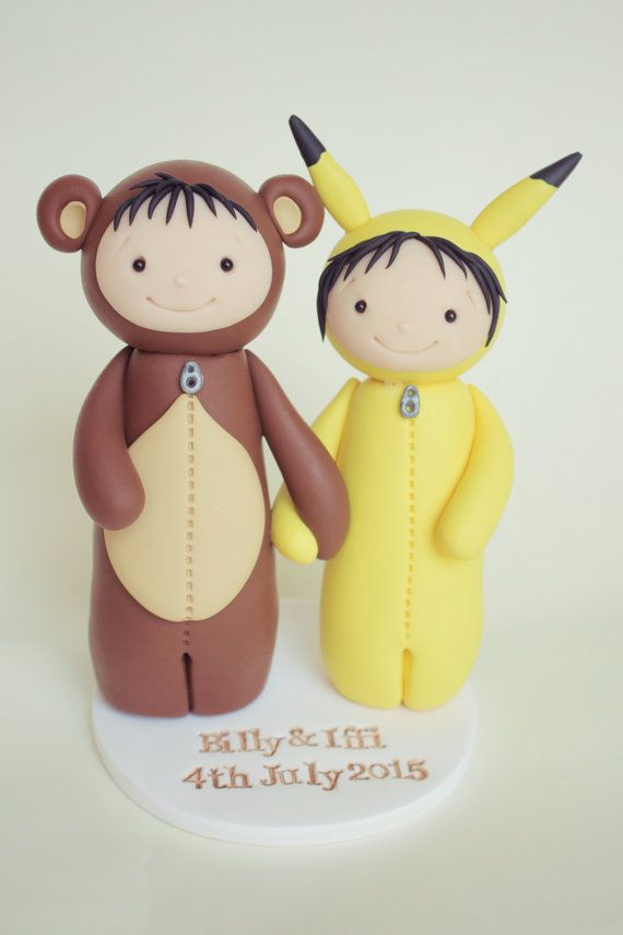 Bear and Pikachu Wedding Cake Topper custom by HeartmadeCottage ...