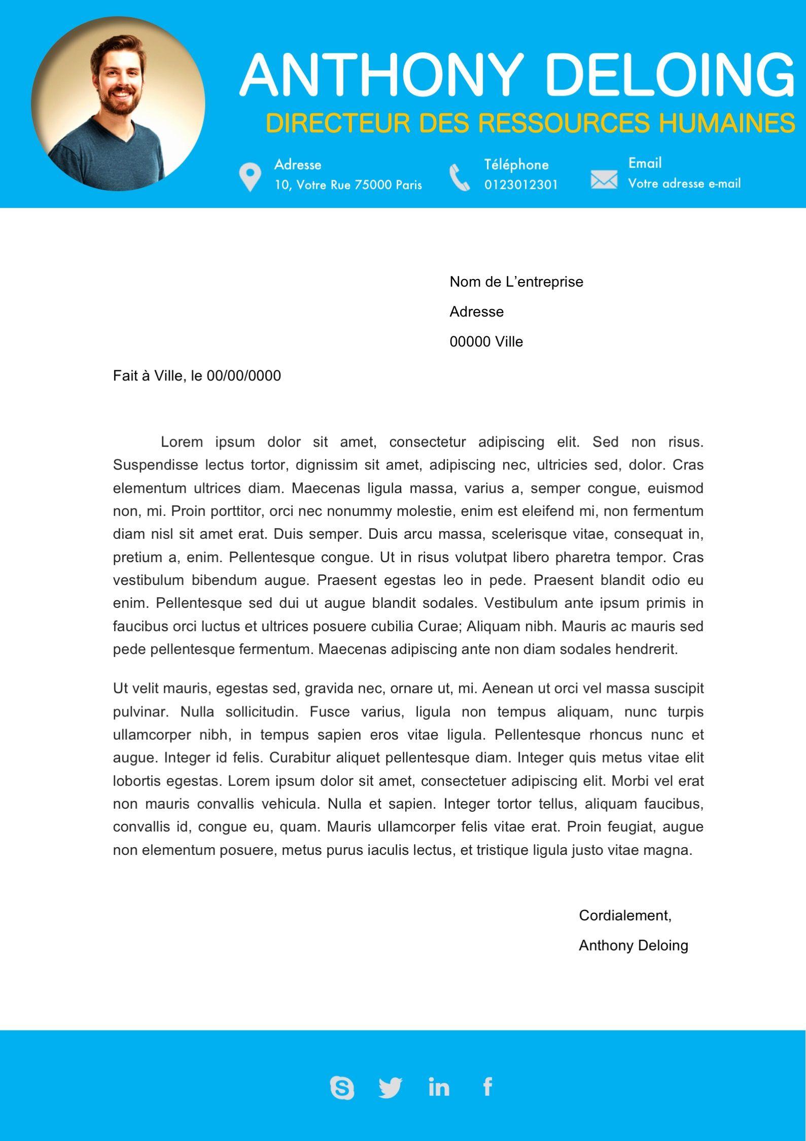 mod u00e8le lettre de motivation bleu cr u00e9e par un graphiste