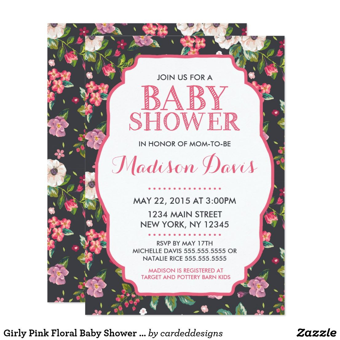 Girly Pink Floral Baby Shower Invitations | Invitations | Pinterest ...