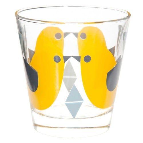 Gobelet motif oiseau en verre jaune