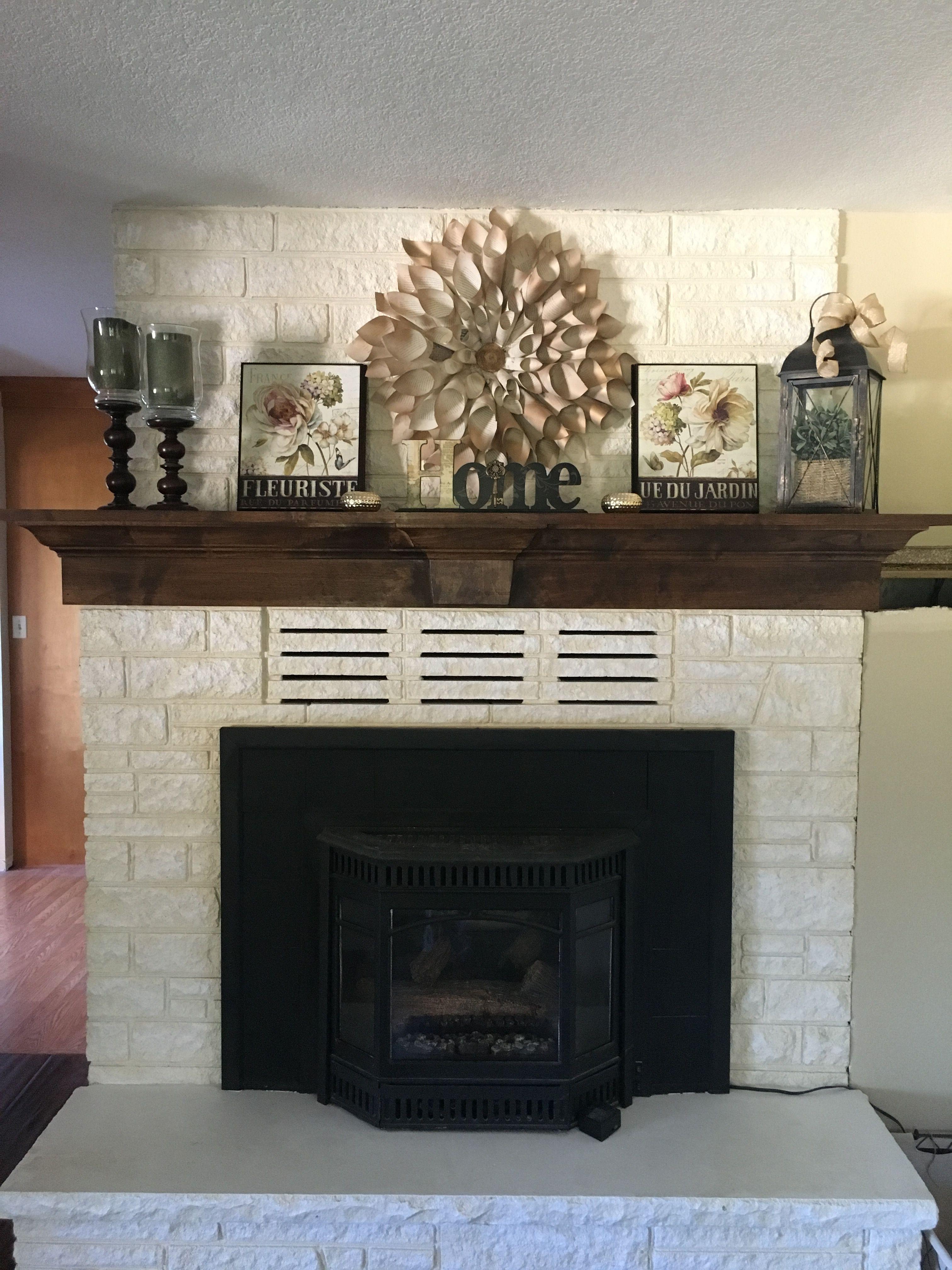 Dark Mantle With White Washed Brick White Wash Brick Fireplace White Wash Fireplace House Styles