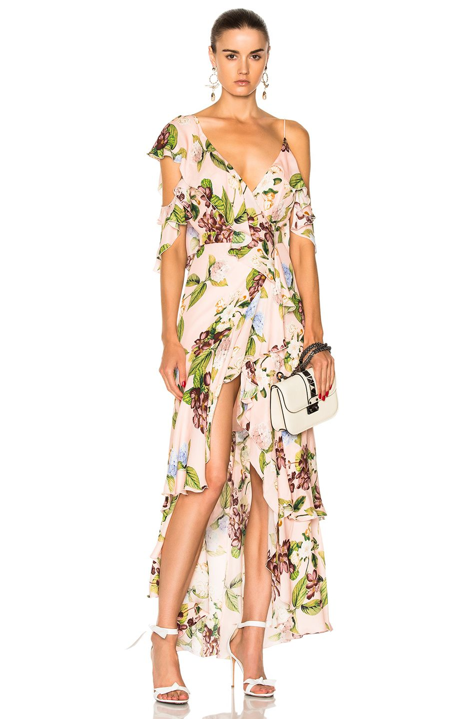 4269228b5e22 Image 1 of NICHOLAS Wrap Flounce Maxi Dress in Evie Floral